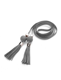 Trendy Gray Tassel&bead Decorated Pure Color Simple Belt