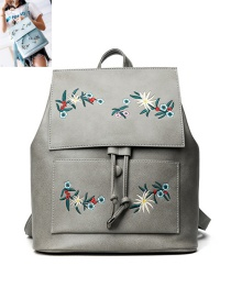 Fashion Gray Embroidery Flower Decoreated Pure Color Backpack