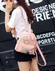 Fashion Pink Flower Decorated Pure Color Backpack