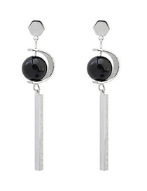 Fashion Black Long Strip Pendant Decorated Simple Earrings