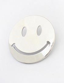 Personality Silver Color Smiling Face Pattern Decorated Simple Round Shape Earrings