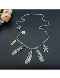 Bohemia Silver Color Metal Feather Pendant Decorated Simple Long Chain Necklace