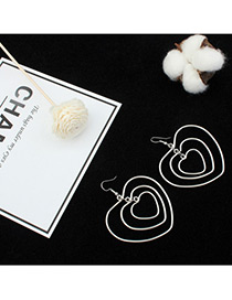 Fashion Silver Color Hollow Out Heart Shape Pure Color Earrings
