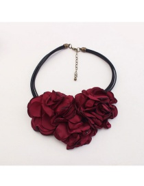Trendy Claret Red Flower Decorated Multi-layer Pure Color Choker