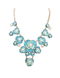 Sweet Blue Pearls&flower Decorated Color Matching Necklace