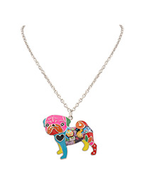 Fashion Multi-color Dog Shape Decorated Color Matching Simple Necklace