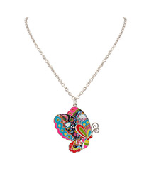 Fashion Multi-color Butterfly Shape Decorated Color Matching Simple Necklace