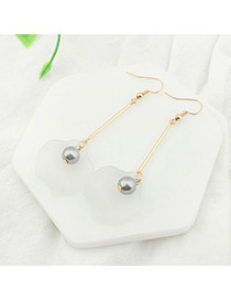 Trendy Champagne+white Leaf&pearl Shape Decorated Color Mathing Simple Earrings