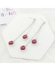 Trendy Silver Color+red Double Balls Decorated Tassel Design Simple Earrings