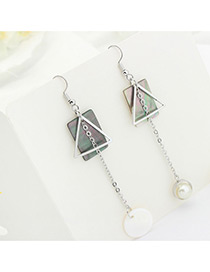 Fashion White Pearl Decorated Geometry Shape Color Mathicng Simple Earrings