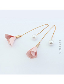Elegant Pink Flower&pearl Decorated Color Matching Simple Earrings