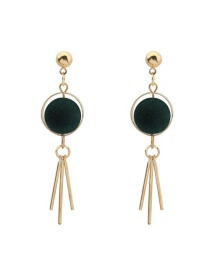 Trendy Dark Green Tassel Pendant Decorated Color Matching Simple Earrings