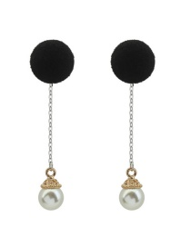 Fashion Black Pearls&fuzzy Ball Decorated Color Matching Long Earrings
