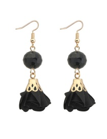 Fashion Black Flower&beads Decorated Pure Color Simple Earrings