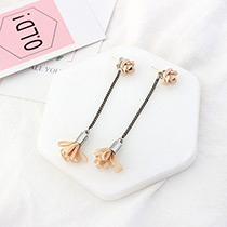 Elegant Orange Flower Shape Pendant Decorated Simple Long Chain Earrings