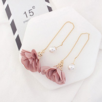 Elegant Dark Pink Flower Shape Decorated Simple Long Chain Earrings