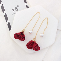 Elegant Red Flower Shape Decorated Simple Long Chain Earrings