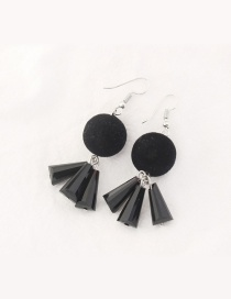 Trendy Black Fuzzy Ball Decorated Pure Color Earrings
