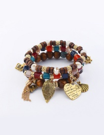 Vintage Multi-color Leaf&heart Shape Decorated Multi-layer Bracelet