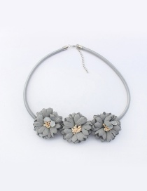 Fashion Gray Flowers Decorated Pure Color Simple Choker