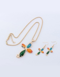 Fashion Champagne Cross Pendant Decorated Color Matching Jewelry Sets