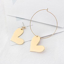 Fashion Gold Color Heart Shape Decorated Simle Asymmetric Earrings
