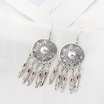 Vintage Red Leaf Shape Decorated Pure Color Simple Earrings