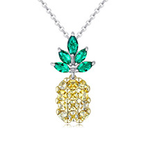Fashion Yellow+green Pineapple Shape Decorated Color Matching Necklace