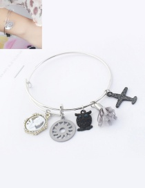 Fashion Silver Color Owl&airplane Decorated Simple Bracelet
