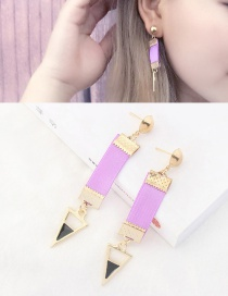 Personalized Purple Triangle Shape Decorated Pure Color Earrings