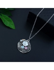 Elegant Silver Color Flower&diamond Decorated Long Necklace