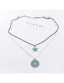 Elegant Light Blue Circular Ring&star Decorated Double Layer Necklace