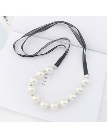 Elegant B Pearls Decorated Double Layer Necklace