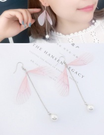 Trendy Pink Tassel&butterfly Decorated Long Earrings