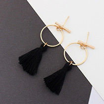 Elegant Black Tassel Decorated Circular Ring Shape Earrings